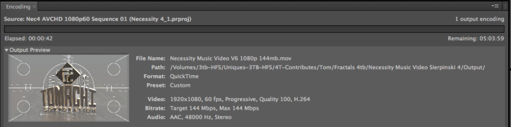 Sheeshka. It takes a while to encode full quality H.264 at 60p using 100% and 144 mbit limit.