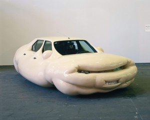 Strange bloated white ugly car of unknown origin