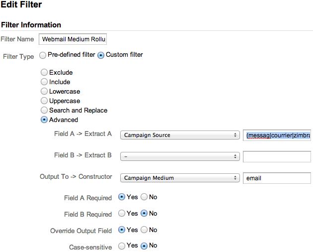 GA Webmail Rollup Filter